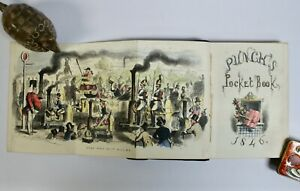 Punch's Pocket Book 1846, Leather, Hand Col. Leech Frontis & Steel Engravings AF
