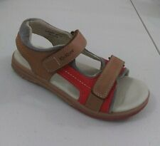 New $80 Kickers Kids Boys Sandals Brown Walking Leather Sz 1.5 Usa/33 Euro