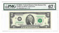 2003A $2 KANSAS CITY FRN, PMG SUPERB GEM UNCIRCULATED 67 EPQ BANKNOTE
