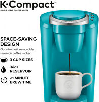 Keurig Turquoise K-Cup Pod Coffee Maker Space Saver Compact Single Serve Machine