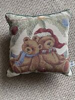 Vintage Riverdale Decorative Products Tapestry Throw Pillow Christmas Bears Deco
