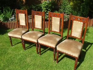 set of 4 art nouveau mahogany sprung dining chairs