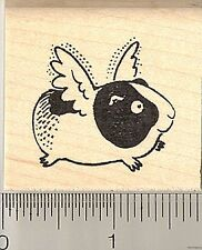 Flying Guinea Pig rubber stamp E9613 Wood Mounted