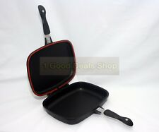 32cm DOUBLE SIDED DIE-CAST GRILL FRYING MAGIC PAN FOLDABLE FLIPPING GRIDDLE BLK