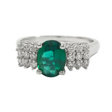 Oval cut Emerald & White Diamond accent Ring  925 Sterling Silver Rhodium size 7