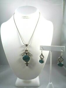 STUNNING 925 STERLING SILVER AMETHYST PEARLS TURQUOISE W/COPPER MATRIX SET