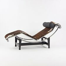 New Le Corbusier Cassina LC4 Chaise Lounge Chair Black Leather Ponyhide Open Box