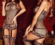 Tuta in rete catsuit mod. SHEILA con calza sexy decorazioni leopardate elasticiz