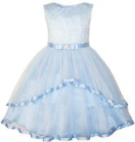 Flower Girls Dress Blue Belted Wedding Party Bridesmaid Age 4-12 Years Pageant