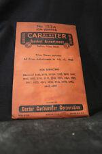 NOS Vintage Carter Carburetor Gasket Assortment No. 152A GM 609994 1952
