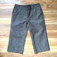Banana Republic Capri Pants Petite Martin Fit Size 6 Brown Stripe Silk Blend C2