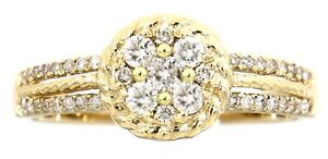 Solid Real Natural Cluster Diamond 14K Yellow Gold 0.35 CT Fancy Ring Jewelry