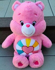 "Hopeful Heart Care Bear Pink Heart Rainbow Jumbo Plush 2015 Just Play 20"""