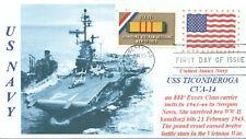 USS TICONDEROGA CVA-14 Vietnam War Carrier Blue Photo Cachet First Day of Issue