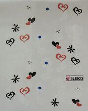 Accessoire ongles: nail art - Stickers autocollants - motifs coeurs et fleurs