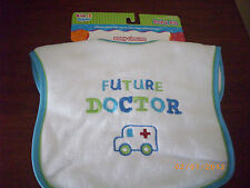 KIDS 2 GROW FUTURE DOCTOR LIGHT BLUE TRIM BOY BIB WITH RED CROSS AMBULANCE TRUCK