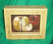 MINI STILL LIFE ART PAINTING LITTLE GREEN APPLES LYNDA CHAMBERS CHAPEL HILL NC