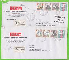 Lot de 2 enveloppe RECOMMANDéEs - ITALIE - 8 timbres au total - Cachet MOMBRETTO