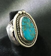 VTG Estate Navajo Sterling Silver Bisbee Turquoise Men's Big Ring Sz.8 (18.6g)