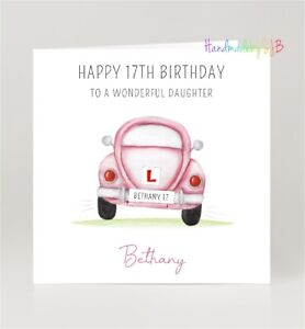 Personalised 17th Birthday Card, Daughter/Granddaughter/Niece, Car/Driving Theme