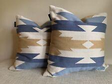 Set Of 2: Pendleton blue &  tan throw embroidered southwestern decorator pillow