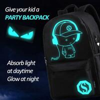 Unisex Anime Luminous Backpack with USB Charging Port School Laptop Shoulder Bag