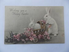 Antique Easter Postcard White Rabbit Pushing its Baby in Wicker Carriage