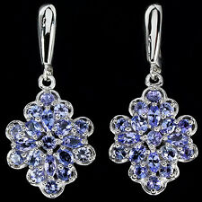 Sterling Silver 925 Mixed Shape Genuine Natural Blue Violet Tanzanite Earrings