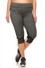 Plus Size Activewear Capris With Contrast Mesh & Color Panels X7CP03