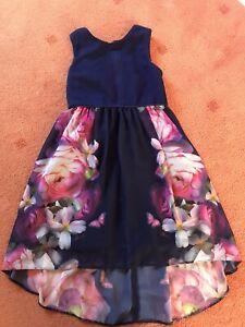 GIRLS NAVY BLUE FLOWER TED BAKER DRESS AGE 7 YEARS