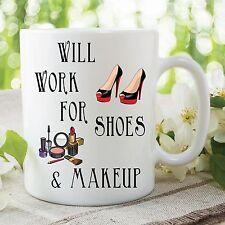Umorismo Tazza di divertenti novità funzionerà Shoes Trucco Lavoro WSDMUG266