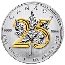 2013 1 oz Silver Coin – Maple Leaf 25th Anniversary – Plated Gold 24k