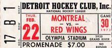 1973 MONTREAL CANADIENS @ DETROIT REDWINGS TICKET STUB - MARCEL DIONNE HAT TRICK