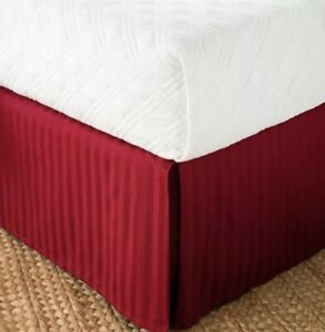 New Chaps Home Damask Stripe Full Bedskirt 500 Tc 100% Pima Cotton Red