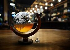 World Globe Whiskey Decanter Bar Ship Bottle Art Liquor Wine Dispenser Gift NEW