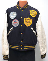 vtg AL MOORE DENVER SOFTBALL Varsity Jacket sz 46 Wool Leather Sleeves 60s/70s