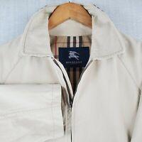 BURBERRY LONDON Size 4 Large Mens Khaki Cotton Trucker Harrington Jacket Plaid
