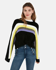 Express Velvet Thermal Striped Crew Neck Pullover Sweater Black Small NWT