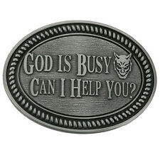 God Is Busy Belt Buckle Man Black No Leather Southwestern Silver Gift New