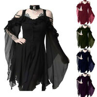 Gothic Womens Fashion Dark In Love Ruffle Sleeves Off Shoulder Gothic Dress CE