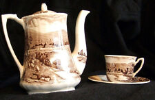 Vintage Alfred Meakin Tintern Brown Coffee Pot with 6 Cups and Saucers