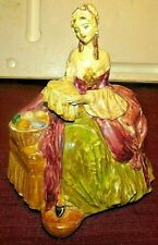 """Vintage Chalkware Colonial Lady Sewing -Beautiful 7"""" tall, base 5"""" wide No. 422"""