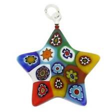 GlassOfVenice Murano Glass Millefiori Star Pendant - Multicolor