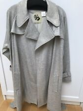 Norma Kamali Grey Knit Ladies Trench Coat, Large