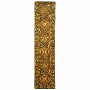 Hand-Tufted Antiquity OLIVE Wool Rug 2' 3 x 12' Runner