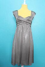 Sean John Silver Metallic Babydoll Dress 90s Clubwear Cap Sleeve Sweetheart S/M