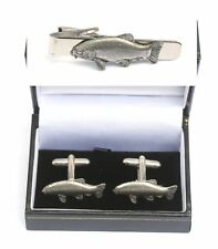 Tench Fish Cufflinks & Tie Clip Bar Slide Set Fishing Gift