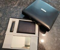 Croft & Barrow Black Leather Trifold wallet pocket knife + Business Card Case