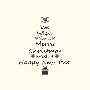 1m x 1m We Wish You A Merry Christmas Wall Graphic/Decal/Sticker Large