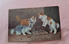 New listing Vintage Cat Postcard. 3 cats. Mouse in cage. German Postcard. Sperlich. Pm 1907.